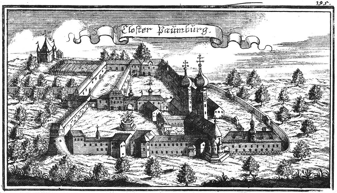Stich des historischen Augustiner-Chorherrenstiftes Baumburg